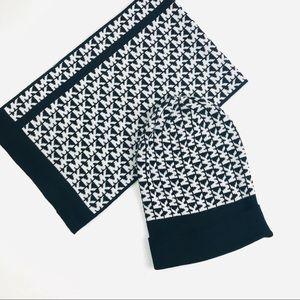 Michael Kors Black White Logo Beanie Scarf Set